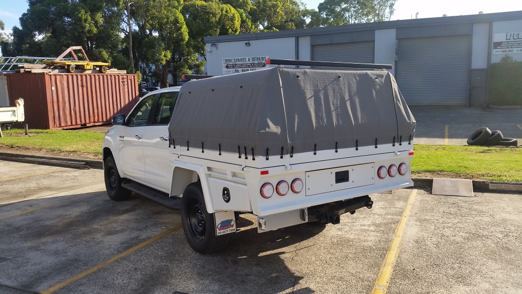 Toyota Hilux Canvas Cover Central Locking Trundle Tray Colour Matched Custom Headboard Designertraybody Dual Cab Ute Steel